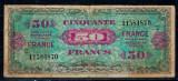 Franta 1944 - 50 francs, ocupatia aliata, uzata