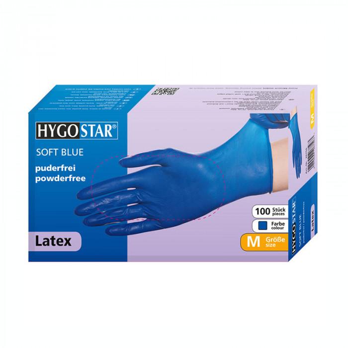 Manusi latex Soft Blue marimea M, albastre, 100 bucati/cutie, nepudrate