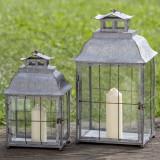 Cumpara ieftin Set 2 felinare decorative, din metal Alyson Gri, L35xl27xH62 cm / L29xl21xH45 cm