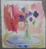 Vaza cu flori// acuarela pe hartie