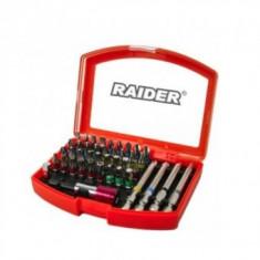 "Set 38 biti cu adaptor si suport magnetic prindere 1/4"", Raider 158902, Cr-V"