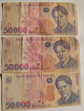 (B.D.G.) LOT 3 BANCNOTE DE 50000 LEI 1996 SI 2000