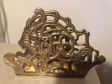 Suport vechi englezesc,pentru servetele,din bronz masiv