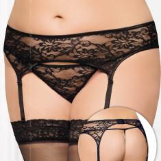 Set Portjartier Dantela Si Chilotei Sexy String, Negru, XXL