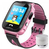 Ceas GPS Copii iUni Kid6, Touchscreen, BT, Camera 2MP, Buton SOS, Rezistent la apa, Roz + Boxa Cadou