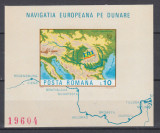 ROMANIA 1977  LP 950  NAVIGATIA  EUROPEANA  PE  DUNARE COLITA NEDANTELATA  MNH, Nestampilat