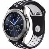 Curea ceas iUni pentru Smartwatch Samsung Gear S3, 22 mm Silicon Sport Black-White