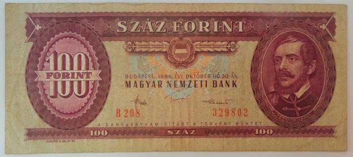 Bancnota 100 FORINTI - UNGARIA, anul 1984 *cod 217