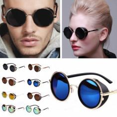Ochelari de soare STEAMPUNK rotunzi vintage,diferite culori si rame, Barbati, Plastic