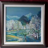 Peisaj montan cu pomi infloriti, pictura tablou ulei pe panza