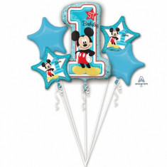 Buchet de baloane din folie Prima Aniversare Mickey Mouse