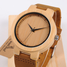 Ceas din lemn Bobo Bird cu curea din piele, D13