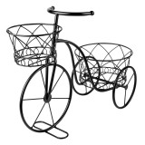 Suport pentru ghivece tip bicicleta, 45 x 18 x 36 cm, Negru, Oem