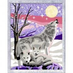 Pictura pe numere familie de lupi