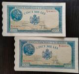 2 x 5000 lei 1945 UNC - serii consecutive