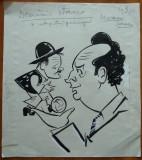 5 caricaturi interbelice in tus de Neagu Radulescu : Dominic Stanca , Leahu