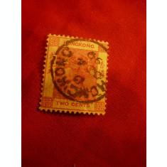 Timbru Hong-Kong Regina Victoria 1883- 2C carmin ,stampilat