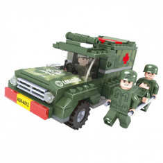 Set cuburi lego, model vehicul militar, 185 piese