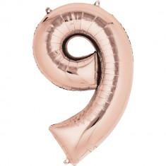 Balon Folie Mare Cifra 9 Rose Gold - 86 cm, Amscan 36220
