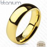 Inel-verighetă din titan cu suprafață netedă, lucioasă și rotunjită, culoare aurie, 6 mm - Marime inel: 49