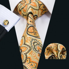 Set cravata matase butoni batista model A+ cutie cadou, Alb, Bleu, Bleumarin, Magenta, Orange