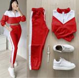 Trening dama lung rosu cu alb cu pantaloni lungi si bluza cu maneca lunga fashion