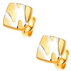Cercei din aur 14K - pătrat lucios cu linii asimetrice din aur alb
