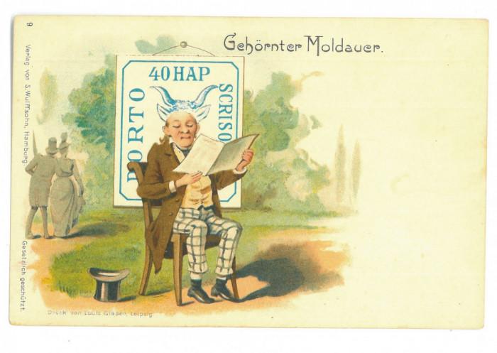 3831 - MOLDOVA, stamp Cap de Bour 40 Parale, Romania - old postcard - unused