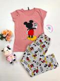 Cumpara ieftin Pijama dama ieftina bumbac cu pantaloni lungi gri si tricou roz cu imprimeu MK Selfie