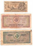 SV * Romania LOT 100 + 100.000 + 1.000.000  LEI  1945 - 1946 - 1947    +/- F