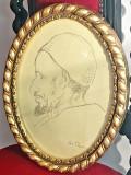 Tablou semnat Popescu Stefan, Portrete, Carbune, Realism