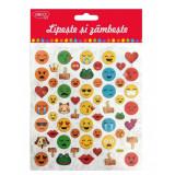 Abtibilduri DACO, Lipeste si Zambeste, Model Smiley, Multicolor, 58 Buc/Set, Autocolante Copii, Stickere Decorative, Stickere pentru Copii, Set de Abt