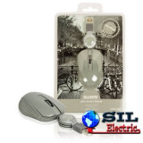 Mouse optic mini Amsterdam pe USB cu cablu retractabil gri, Sweex, Optica