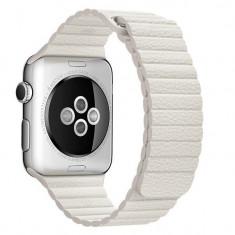 Curea piele pentru Apple Watch 44mm iUni White Leather Loop