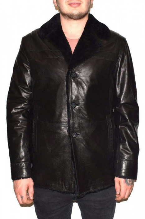 Cojoc barbati, din blana naturala, Kurban, A-71-01-95, negru