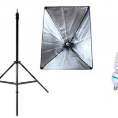 Kit Lumina Continua Softbox pentru Studio Foto sau Videochat cu 1 Bec E27 Inclus