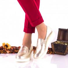 Oferta marimea 38, 39, Pantofi dama casual din piele naturala auriu LNA271AURIU