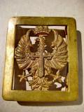 A678-Pafta militara veche Franco Spania bronz-Stema regala cu vultur si Cruce.