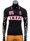 Tricou barbati polo, negru simplu, slim fit, casual - S850, L, M