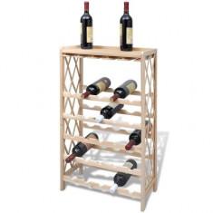 vidaXL Suport sticle de vin pentru 25 de sticle, lemn
