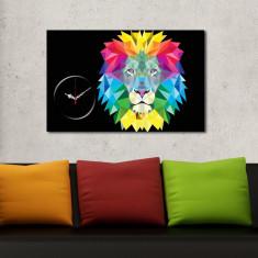 Superb tablou mare impunator cu ceas LEU colorat efect 3D curcubeu vibrant