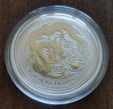 AUSTRALIA - 50 Cents 2012 - Anul Dragonului Argint 1/2 Uncie UNC in capsula, Australia si Oceania