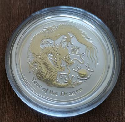 AUSTRALIA - 50 Cents 2012 - Anul Dragonului Argint 1/2 Uncie UNC in capsula foto