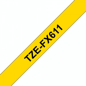 Banda continua laminata flexibila Brother TZEFX611 6mm 8m Negru pe Galben