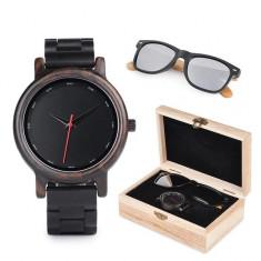 Set ceas din lemn Bobo Bird P10 si ochelari de soare din lemn Wooden Lux
