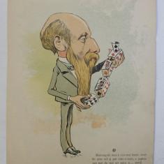 CONST . LAHOVARI , CARICATURA , LITOGRAFIE de pictorul NICOLAE PETRESCU - GAINA 1871 - 1931 , 1898