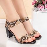 Sandale dama cu toc maro snake print Zalida