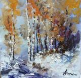 Tablou ulei (15/15 )-IARNA, Flori, Impresionism