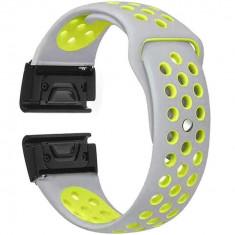 Curea ceas Smartwatch Garmin Fenix 3 / Fenix 5X, 26 mm iUni Silicon Sport Gri-Galben
