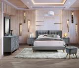 Set Mobila Dormitor tapitat cu stofa, pat 200 x 180 cm, 6 piese Shell Velvet Gri